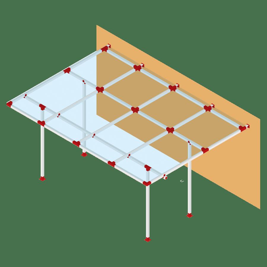 Sider-System Policarbonato voladizo frontal cerrado